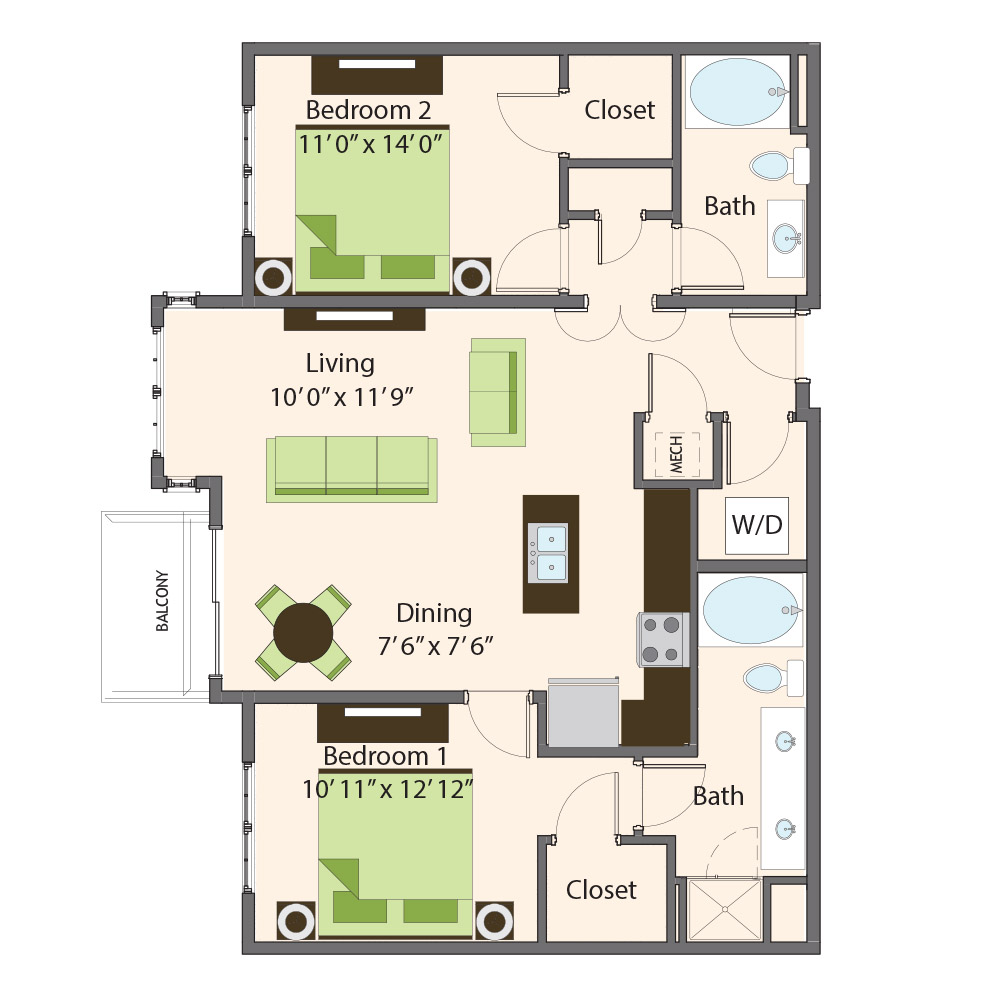 Mulberry Floor Plan | Northbrook Apartments